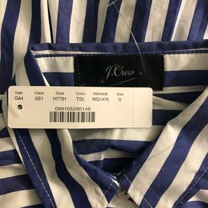 J. Crew Dresses - J. Crew Blue Stripe Tie Waist Shirt Dress